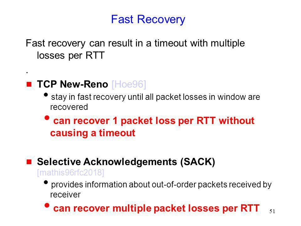 Fast Recovery Fast recovery can result in a timeout with multiple losses per RTT. . TCP New-Reno [Hoe96]